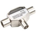Bandridge BVP421 Coax-Adapter Coax Male (IEC) - 2x Coaxconnector Female (IEC) Zilver image