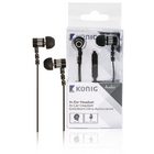 In-ear headset platte kabel zwarte luidsprekers 10 mm