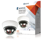 Dummy dome beveiligingscamera met oplichtende IR LEDs in het donker