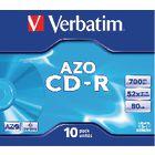 CD-R AZO Crystal 700 MB Jewel Case 10 stuks