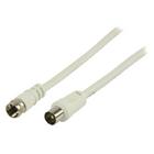 Antennekabel F mannelijk - coax mannelijk 1,00 m wit