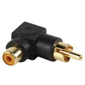Adapter plug RCA stekker - RCA kontra stekker met vergulde kontakten in haakse uitvoering