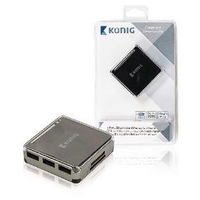 3-poorts aangedreven USB 2.0-hub en geheugenkaartlezer