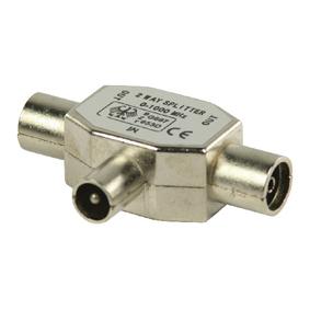 Coax T-splitter coax mannelijk - 2x coax vrouwelijk metaal