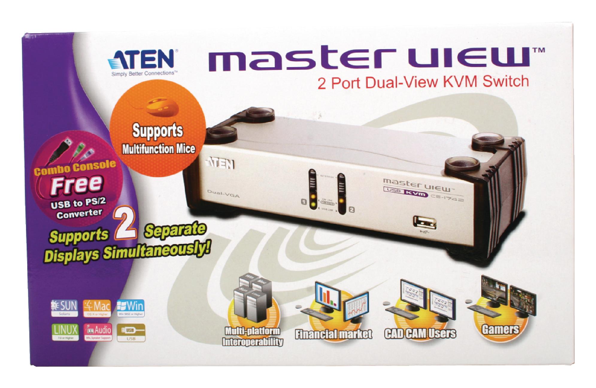 AT-CS1742 - Aten - 2-port USB dual-view KVMP switch desktop