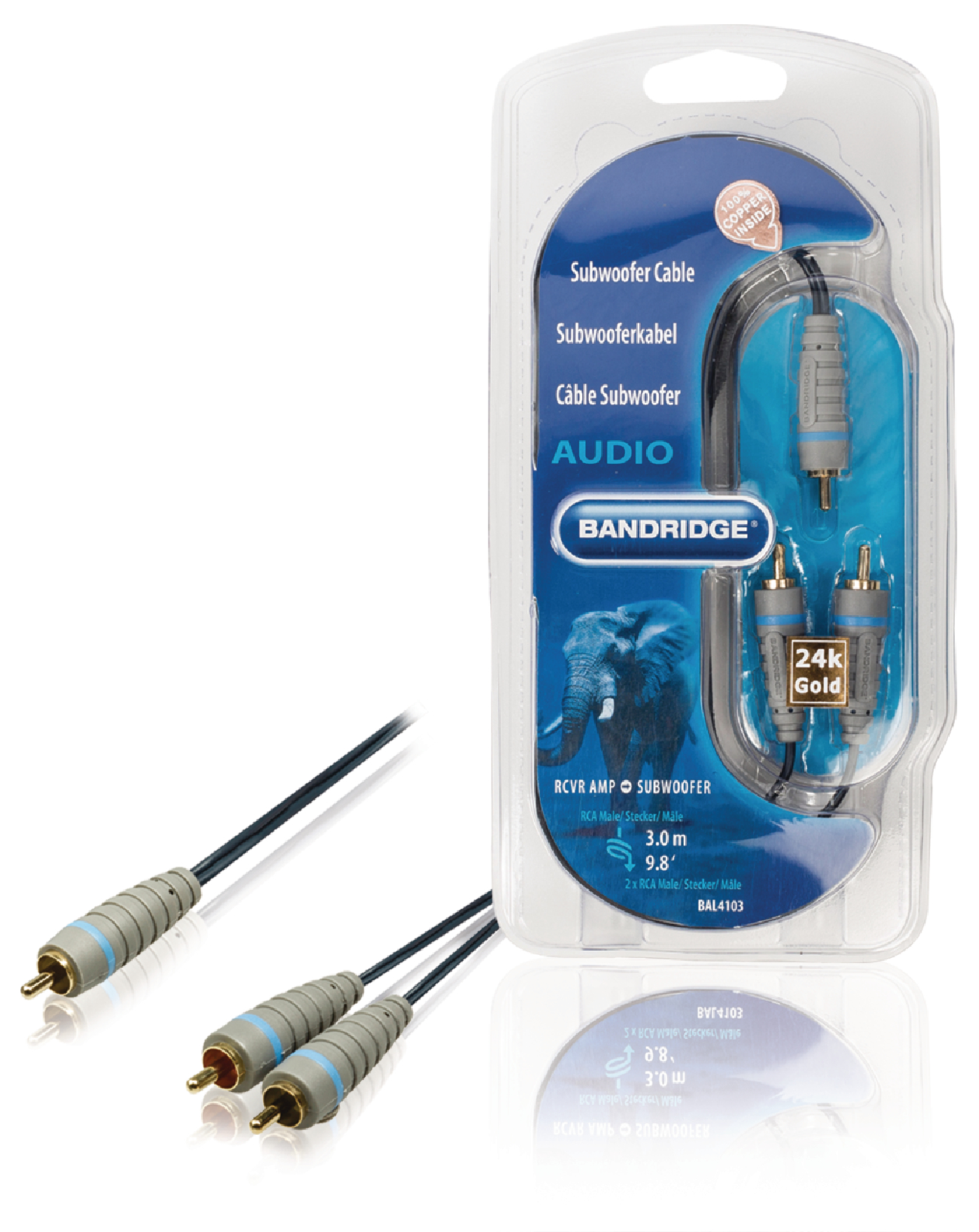 BAL4103 - Bandridge - Subwoofer Audio Cable RCA Male - 2x RCA Male ...