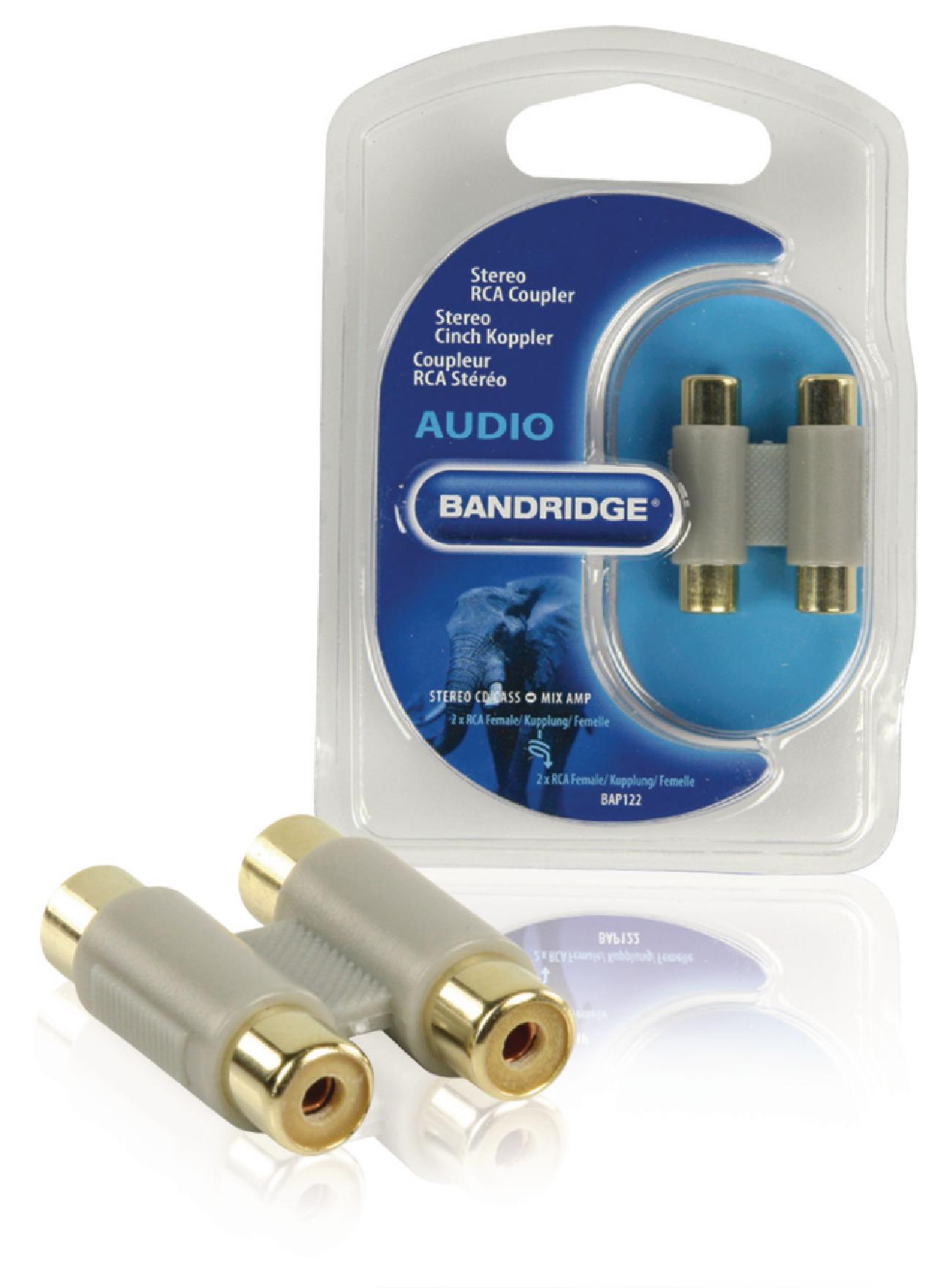 Bap122 Bandridge Mono Audio Adapter 2x Rca Female Stereo To Grey