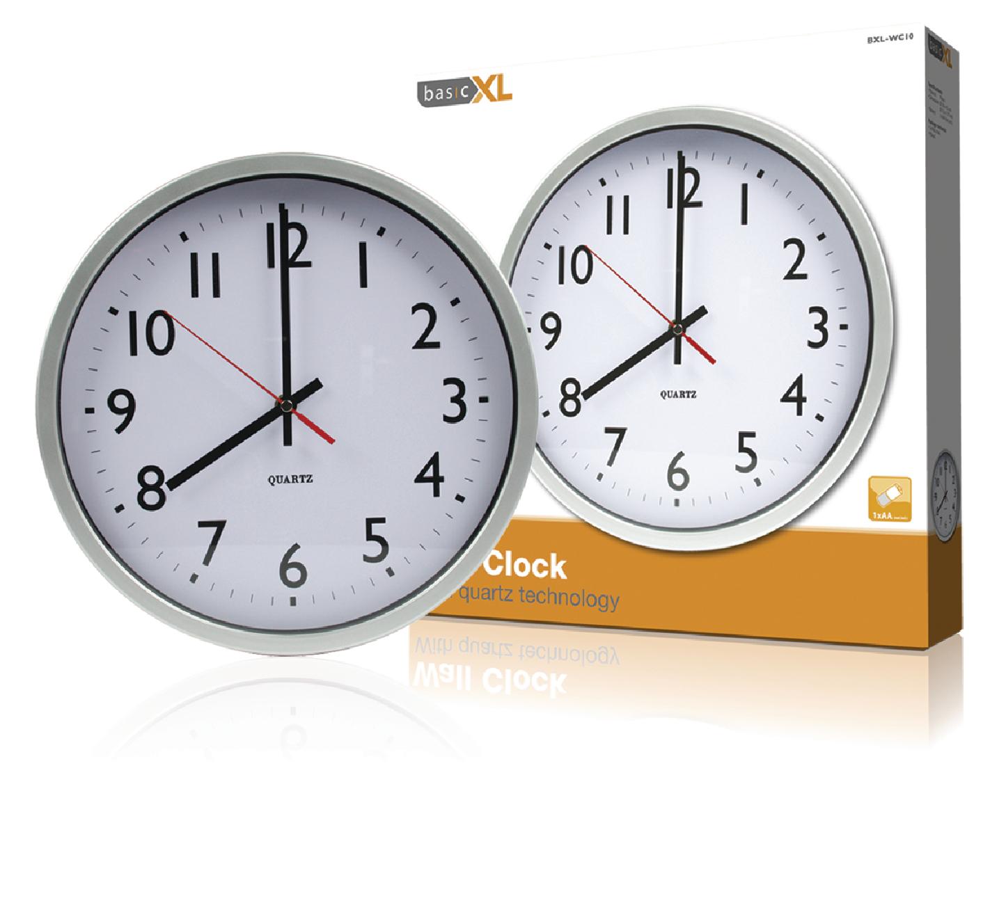 bxl wc10 basicxl horloge murale 30 cm analogiques blanc argent electronic. Black Bedroom Furniture Sets. Home Design Ideas