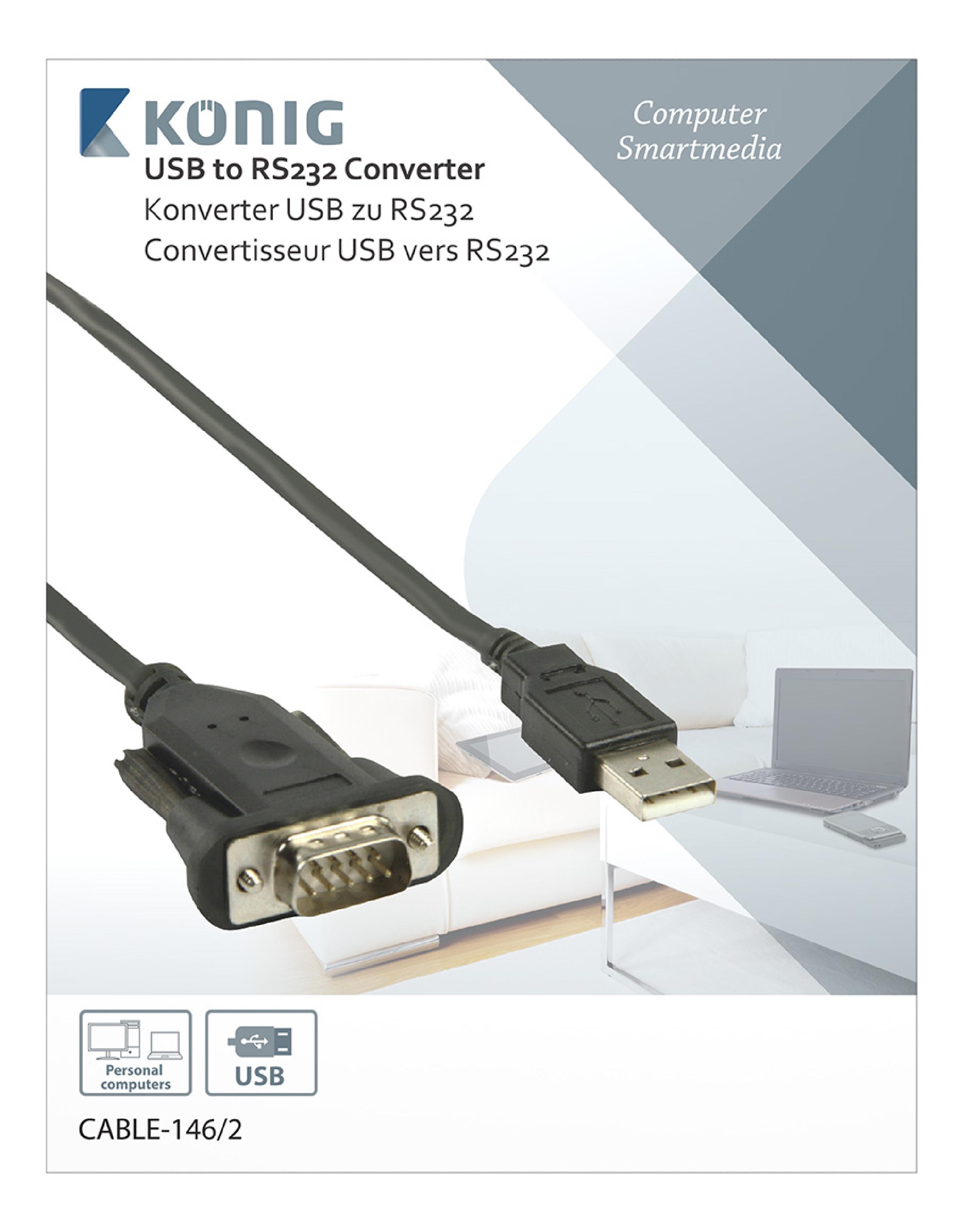 cable 146 2 k nig converter usb a male rs232 black. Black Bedroom Furniture Sets. Home Design Ideas