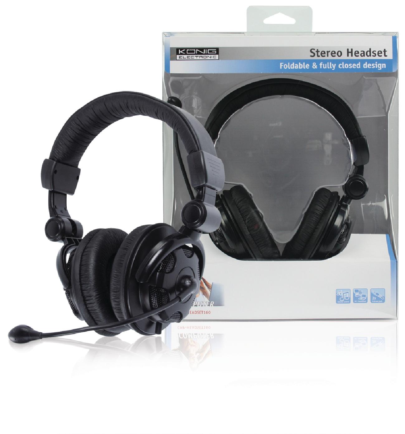 CMP-HEADSET160 - König - Headset Over-Ear 2x 3.5 mm Built-In Microphone  Black 5d7401e7ab43e