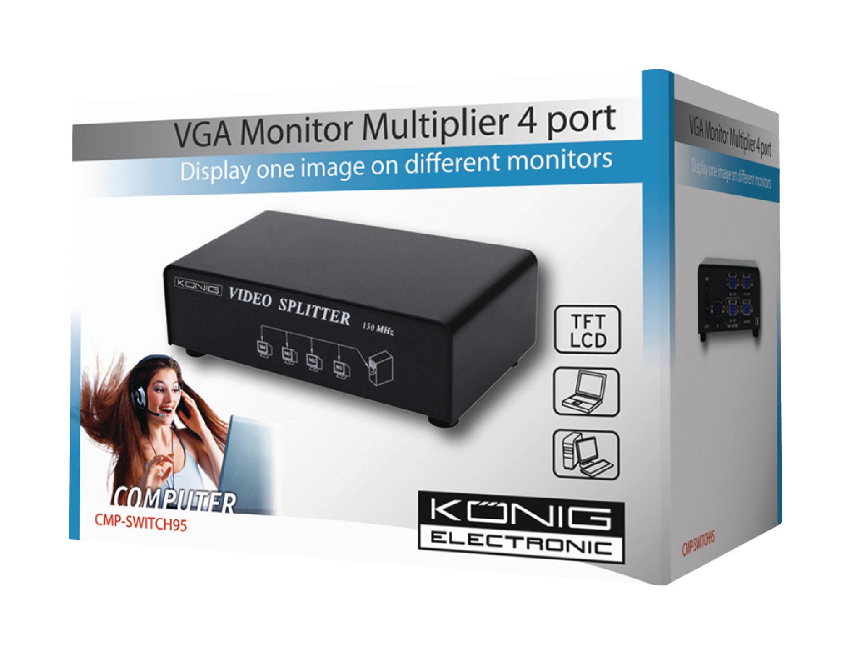 Cmp Switch95 Knig Vga Splitter Male 4x Female Black Converter 2 Port Spliter