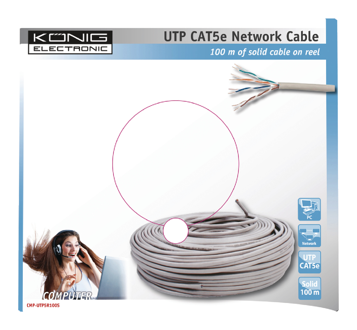 Cmp Utp5r100s Knig Network Cable On Reel Cat5e Utp 100 M Grey Wiring Diagram Solid