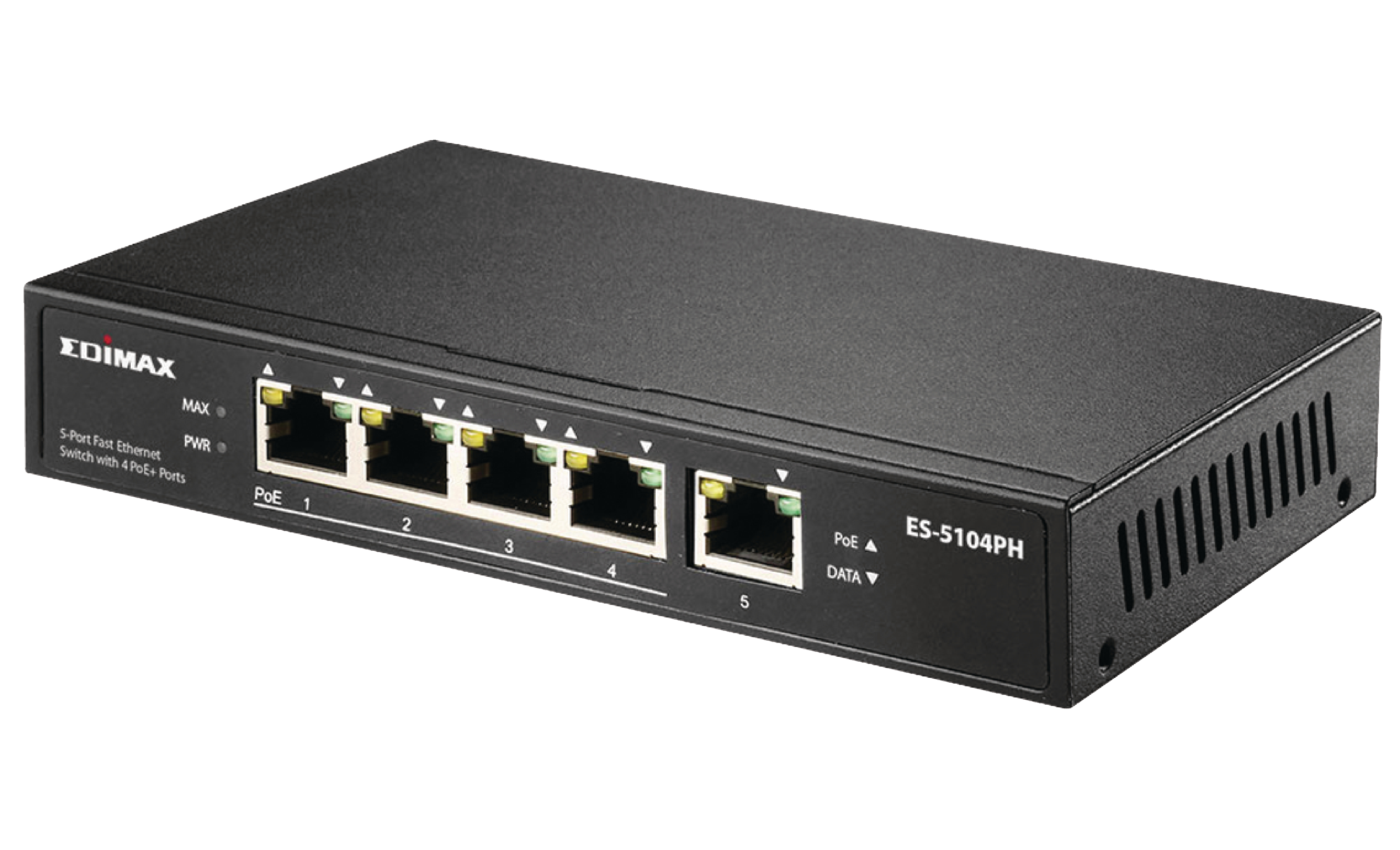5 port fast ethernet switch with 4 poe ports es 5104ph edimax