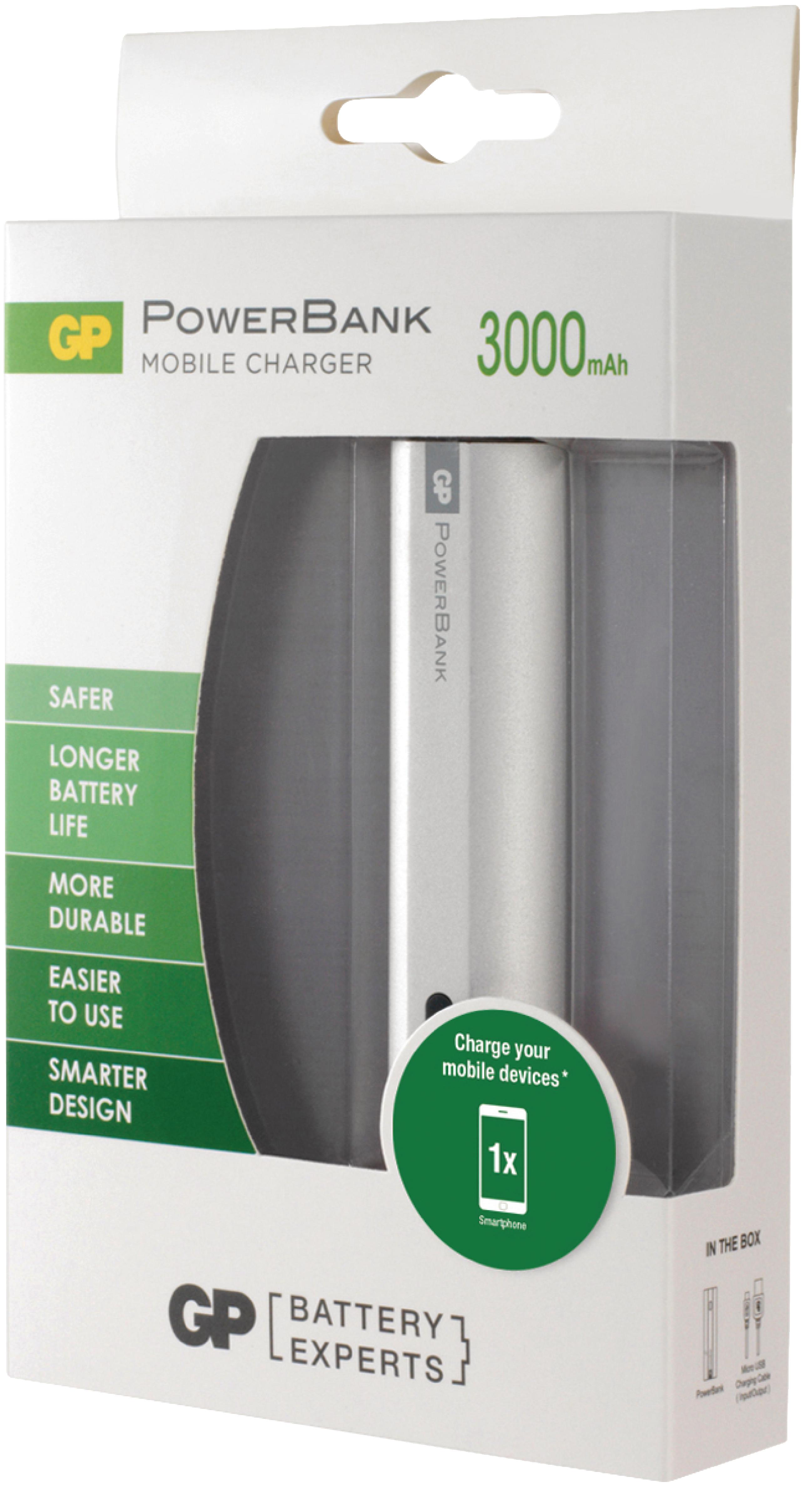 Gp Fn03ms Portable Power Bank 3000 Mah Usb Silver