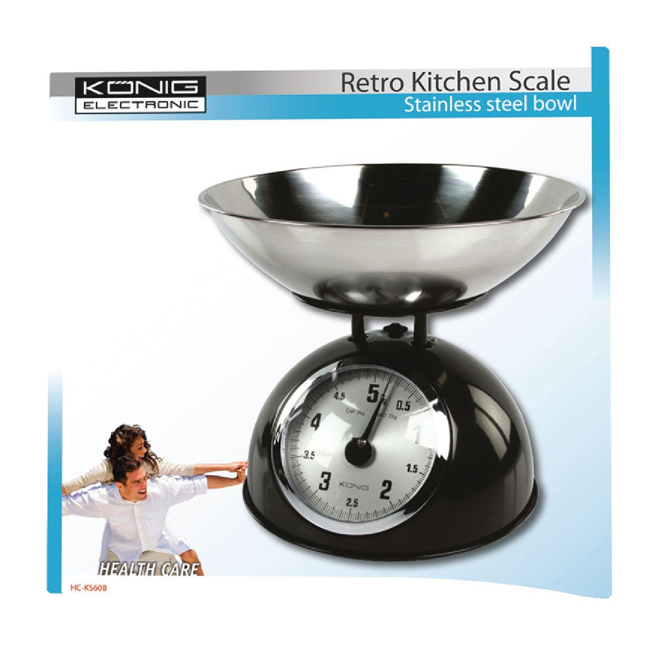 Retro Keukenweegschaal : Retro keukenweegschaal met RVS afneembare schaal zwart