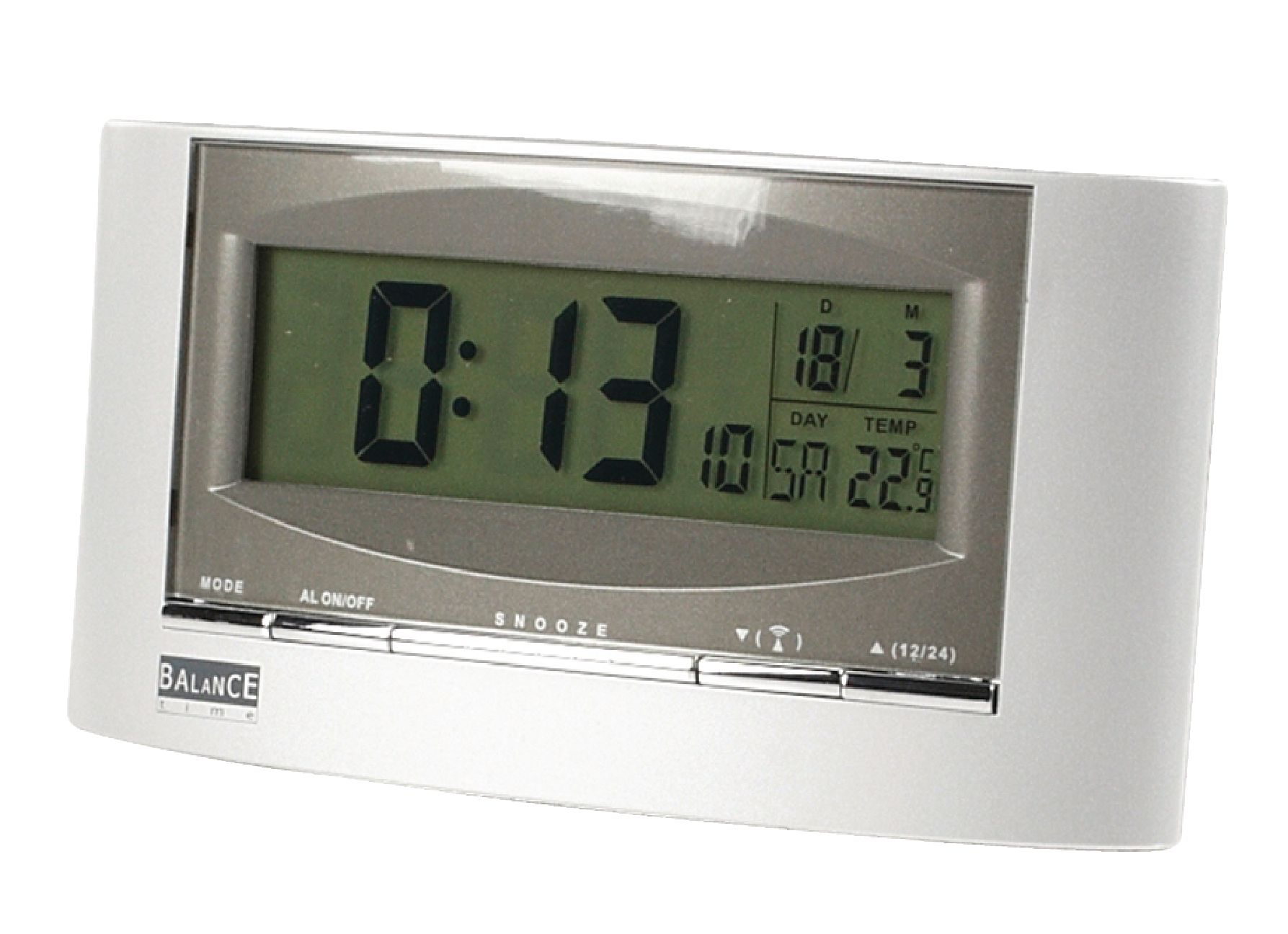 he clock 32 balance radio controlled solar alarm clock digital silver electronic. Black Bedroom Furniture Sets. Home Design Ideas