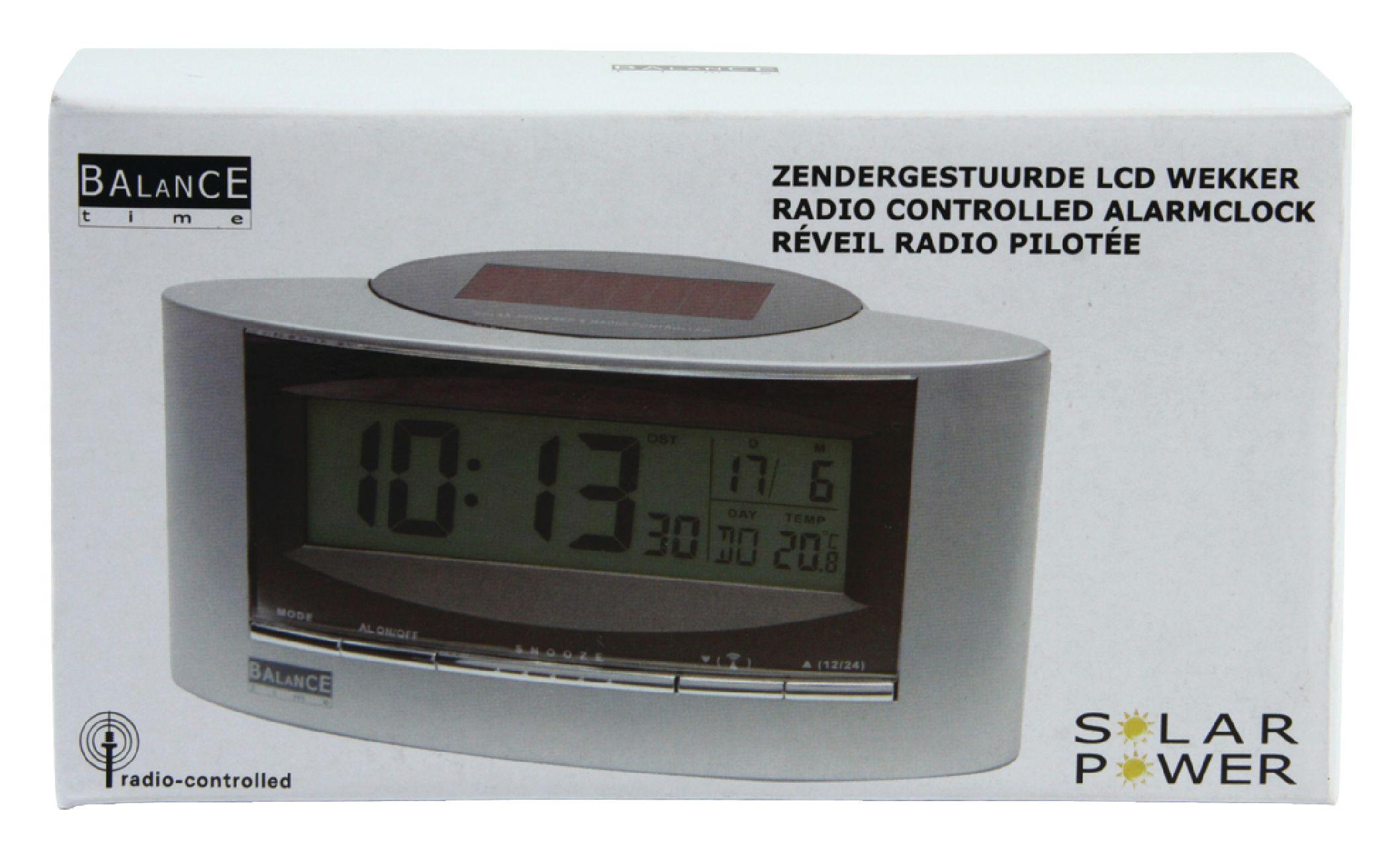 9967c33a20216d ... HE-CLOCK-32   Balance - Radio-Controlled Solar Alarm Clock Digital  Silver