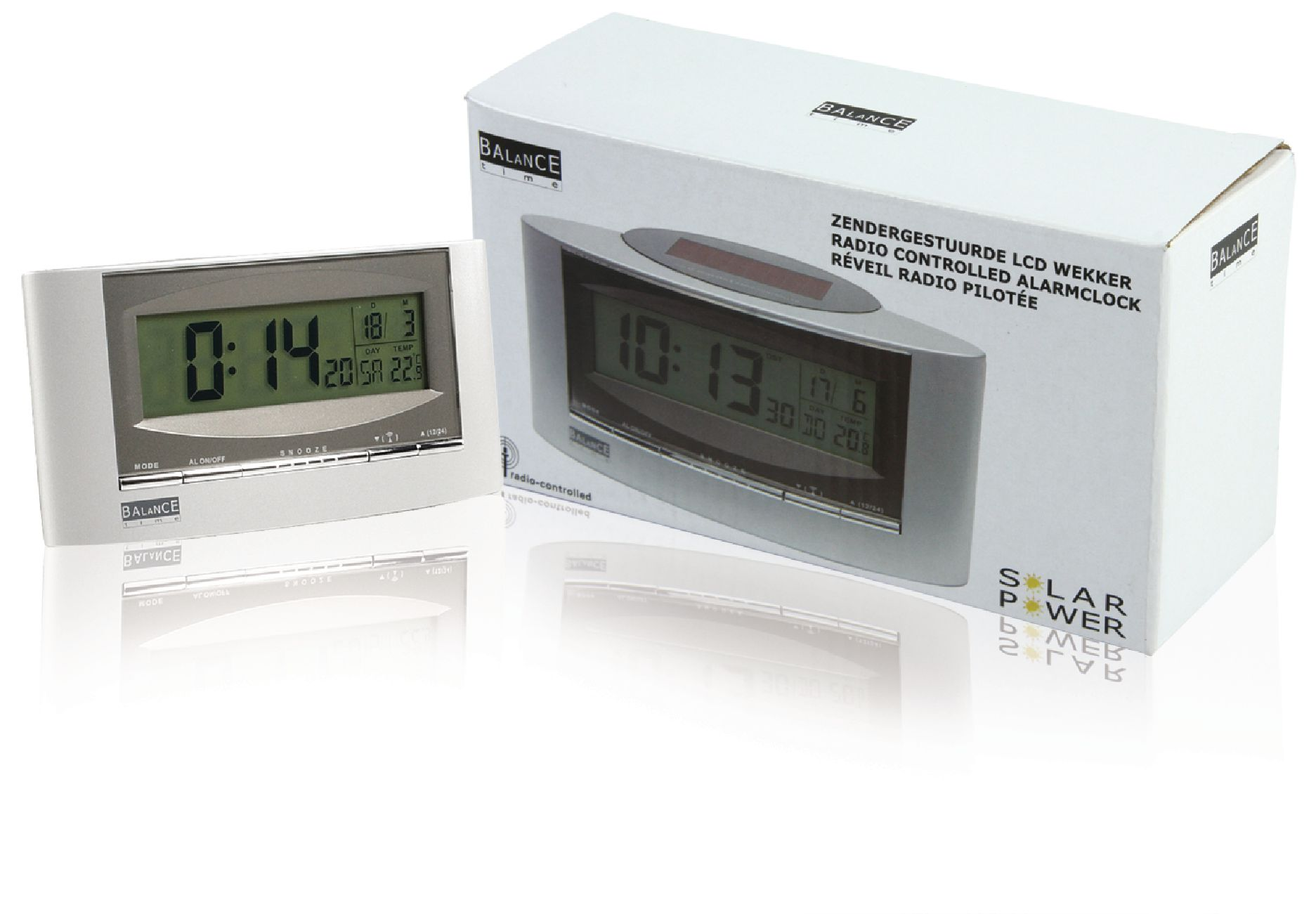 he clock 32 balance radio controlled solar alarm clock digital silver electronic. Black Bedroom Furniture Sets. Home Design Ideas