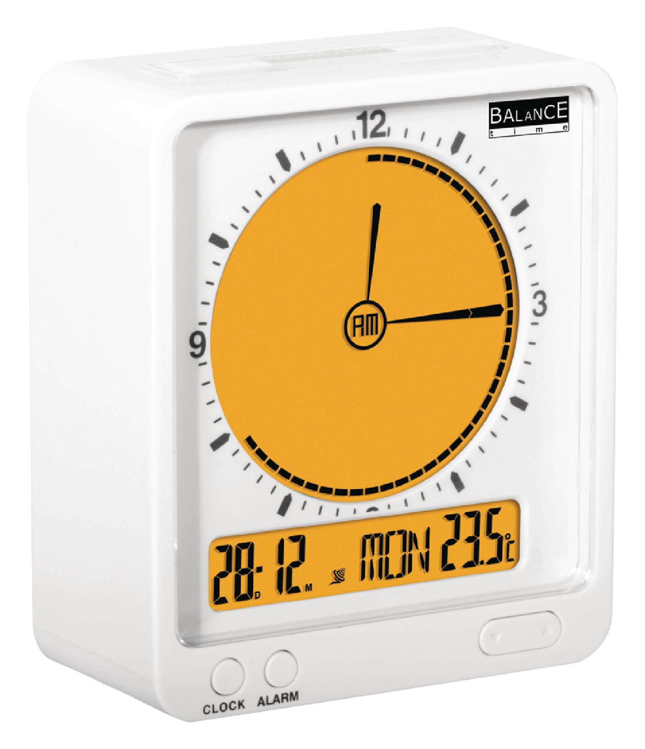 he clock 36 balance radio controlled alarm clock digital white orange electronic. Black Bedroom Furniture Sets. Home Design Ideas