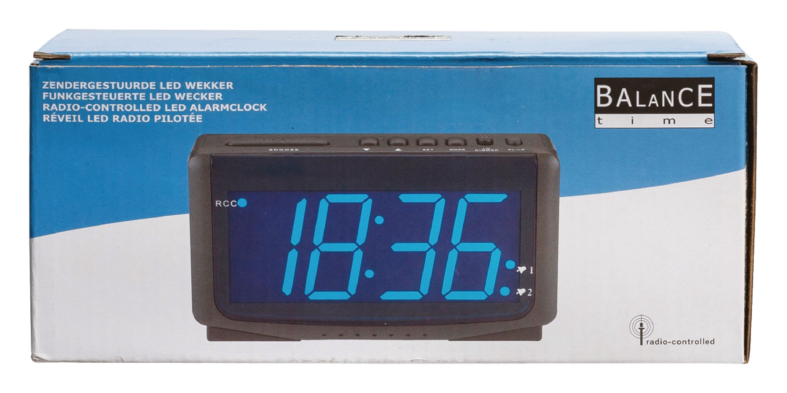 he clock 65 balance radio controlled alarm clock digital black electronic. Black Bedroom Furniture Sets. Home Design Ideas