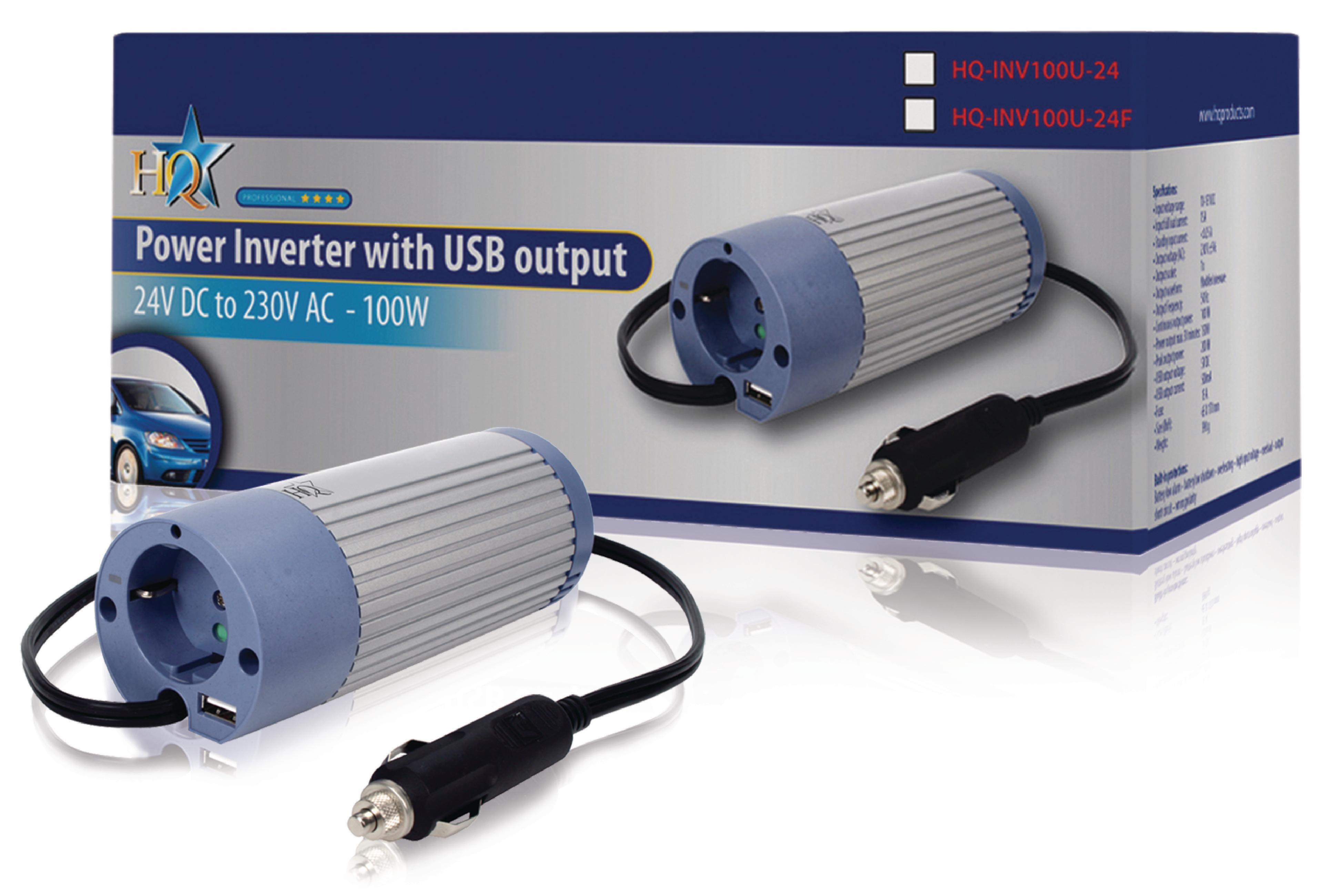 HQ HQ-INV100U-24 - Wechselrichter Gleichstrom in Wechselstrom - 24 V - 100 Watt