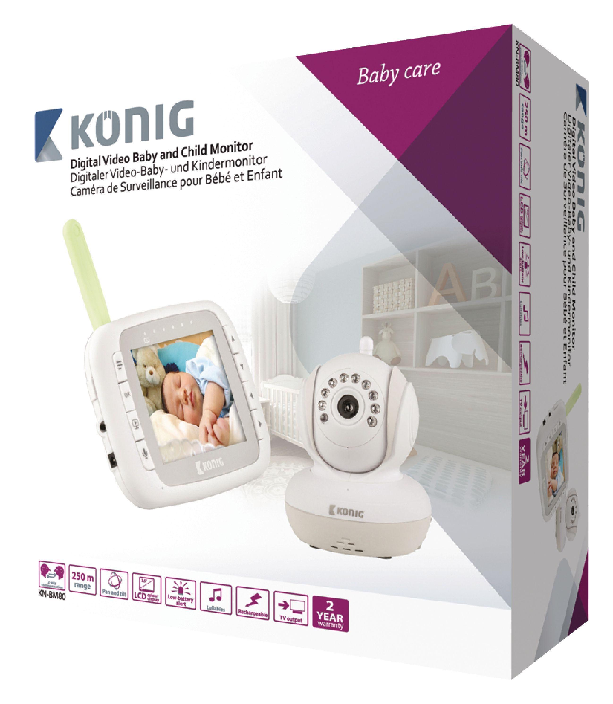 kn bm80 k nig moniteur de surveillance pour b b audio video 2 4 ghz blanc gris. Black Bedroom Furniture Sets. Home Design Ideas