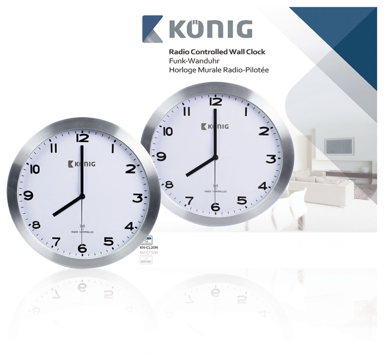 kn cl20n k nig horloge murale radio contr l e 30 cm. Black Bedroom Furniture Sets. Home Design Ideas