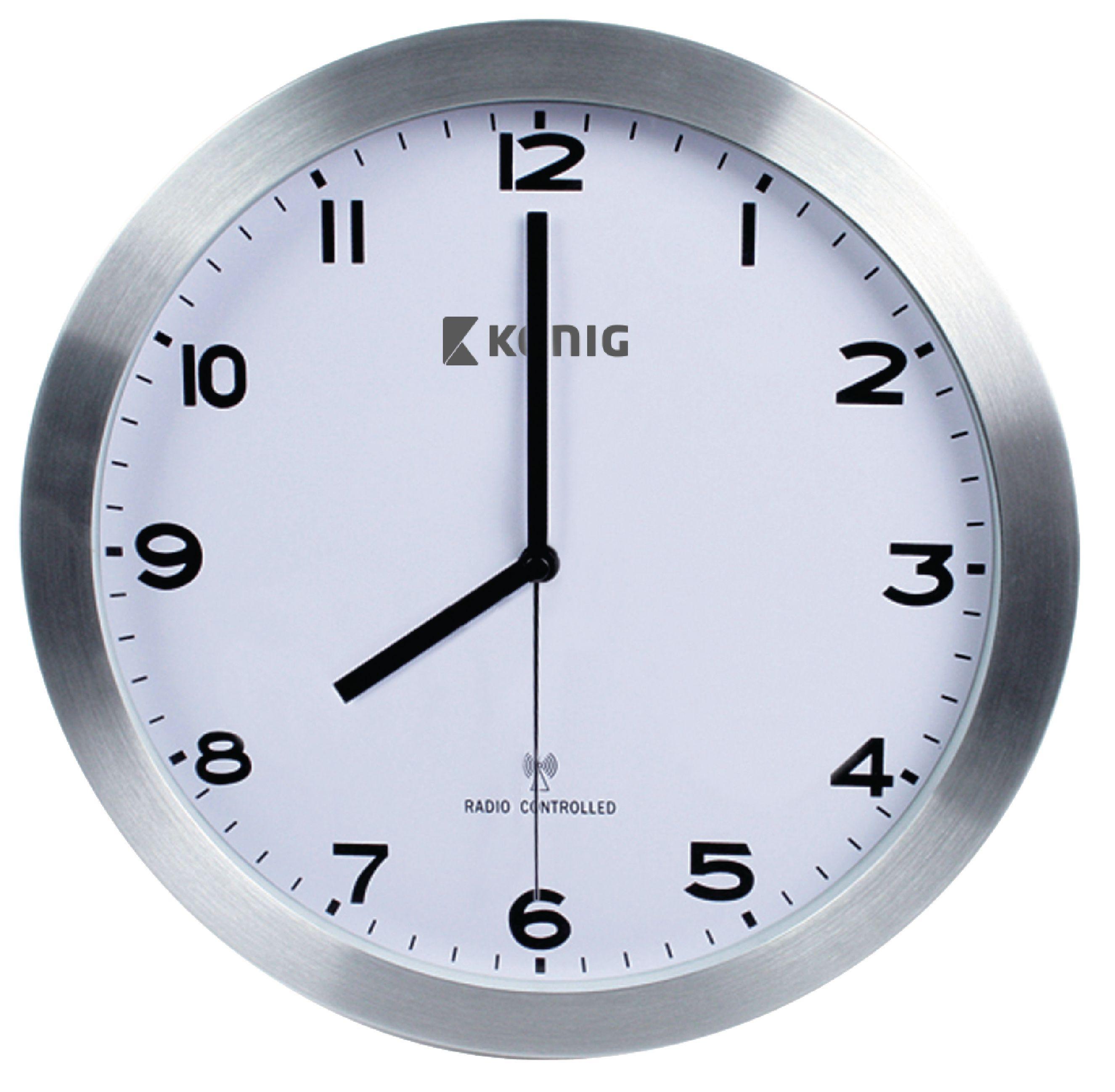 kn cl20n k nig horloge murale radio contr l e 30 cm analogiques argent blanc electronic. Black Bedroom Furniture Sets. Home Design Ideas