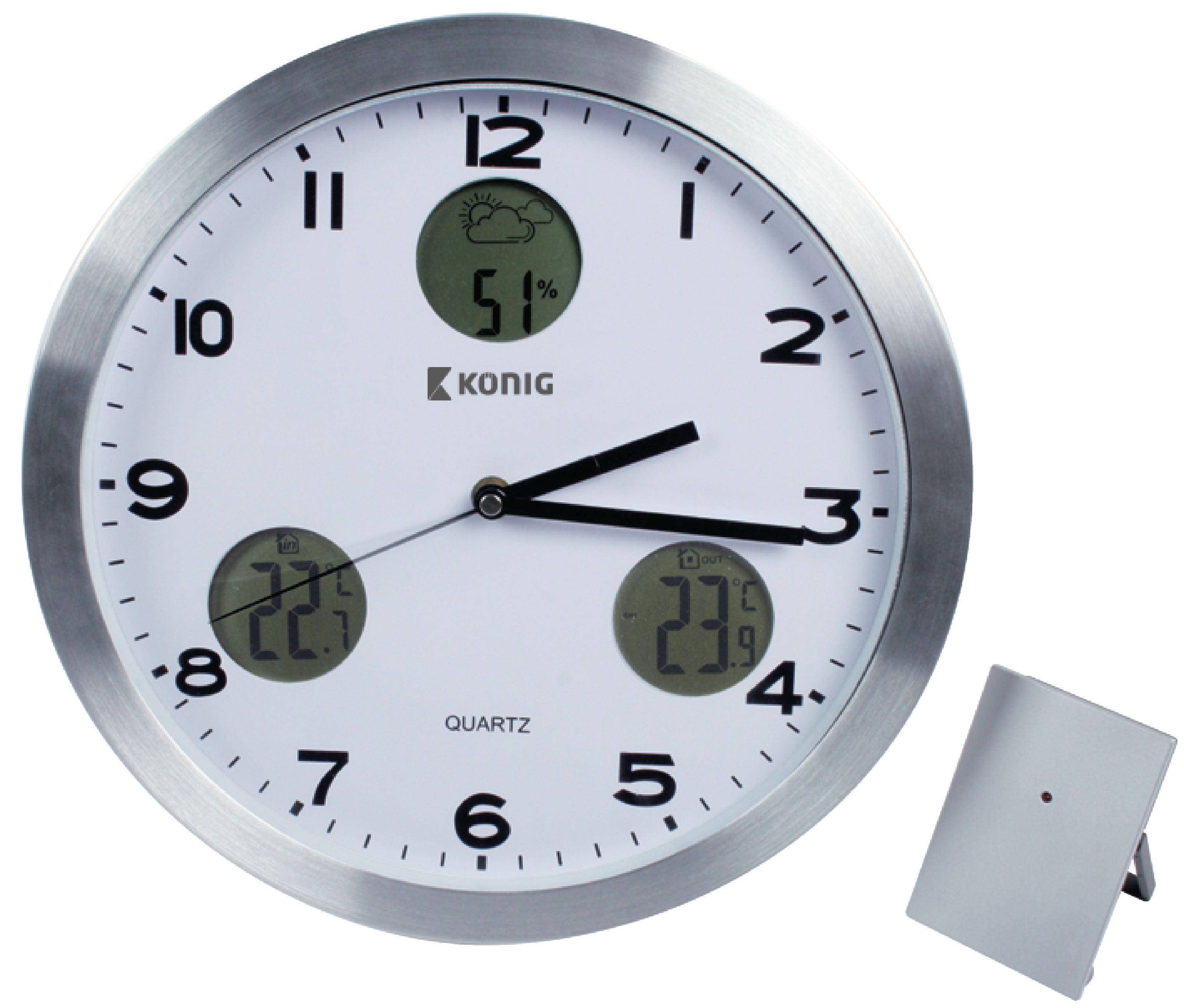 Kn Cl30n K 246 Nig Weather Station Wall Clock Indoor And