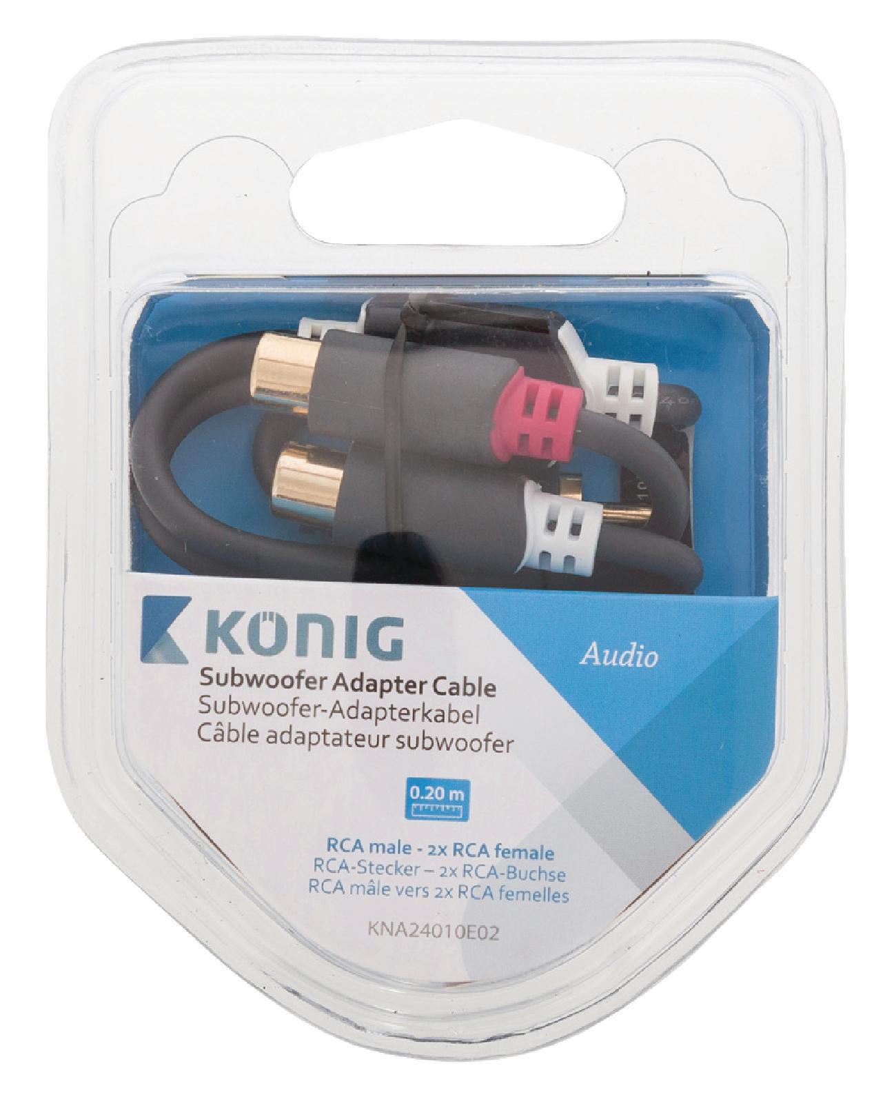 KNA24010E02 - König - Subwoofer Audio Cable RCA Male - 2x RCA Female ...