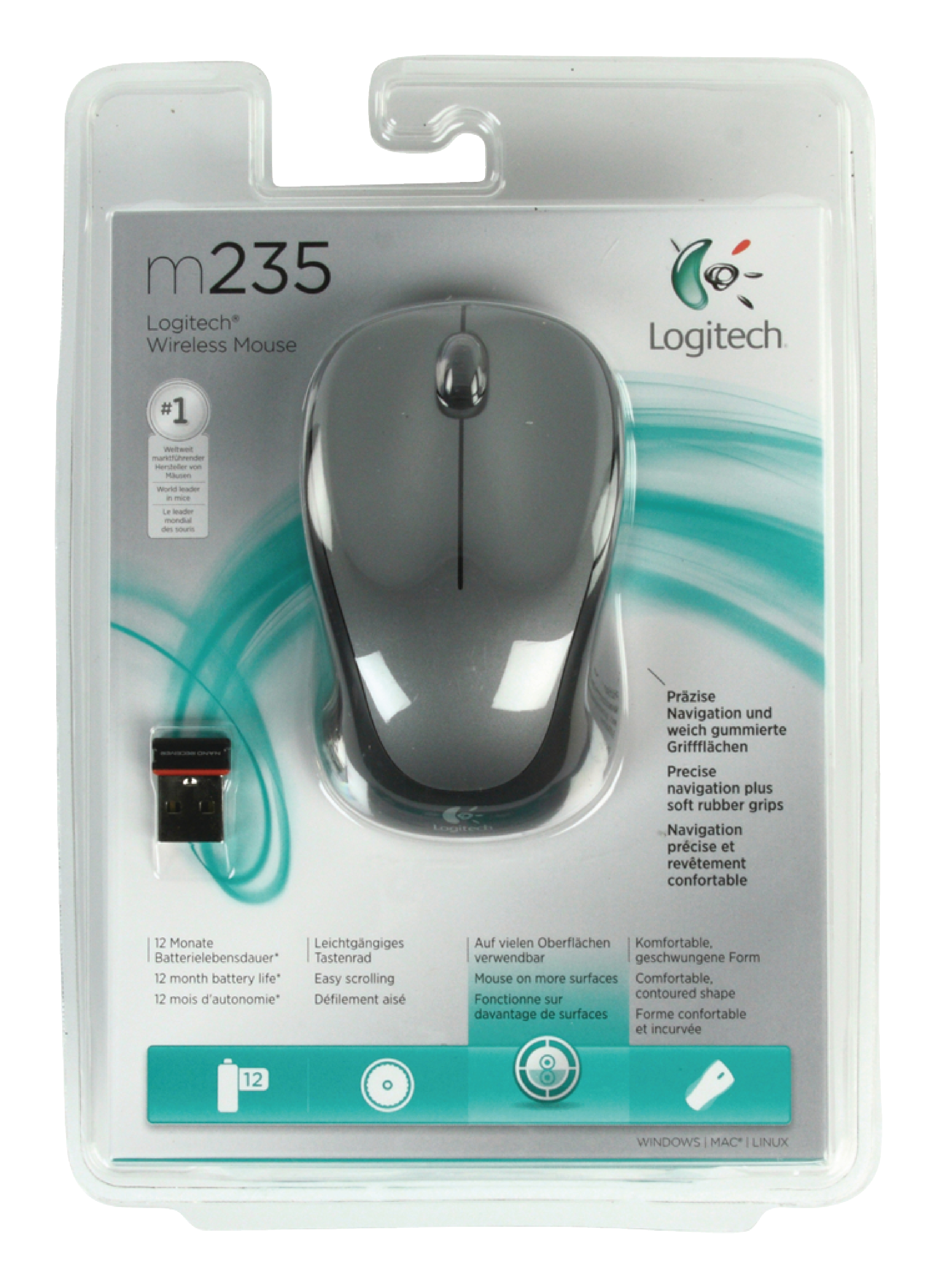 Lgt M235b Logitech Wireless Mouse Desktop 3 Button Grey R One