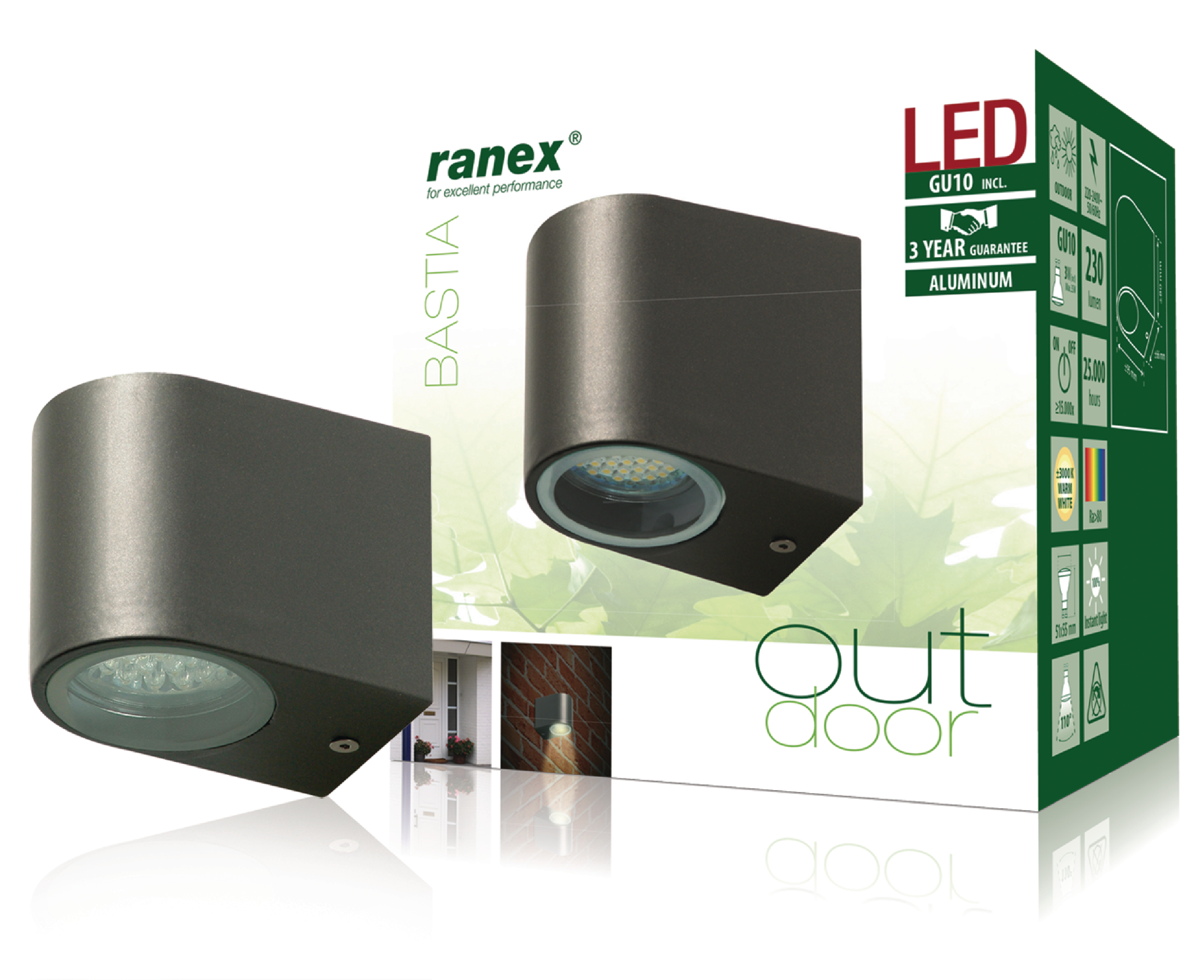 ra 5000332 ranex led outdoor wall light 2 4 w 230 lm. Black Bedroom Furniture Sets. Home Design Ideas