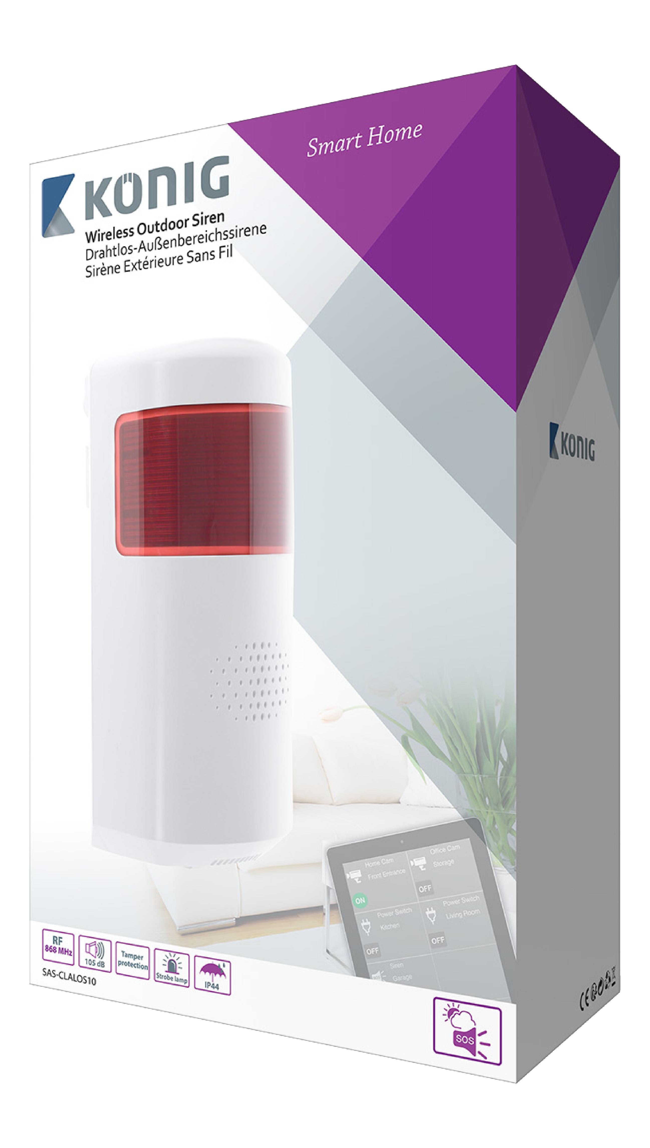 sas clalos10 k nig smart siren outdoor 868 mhz electronic. Black Bedroom Furniture Sets. Home Design Ideas