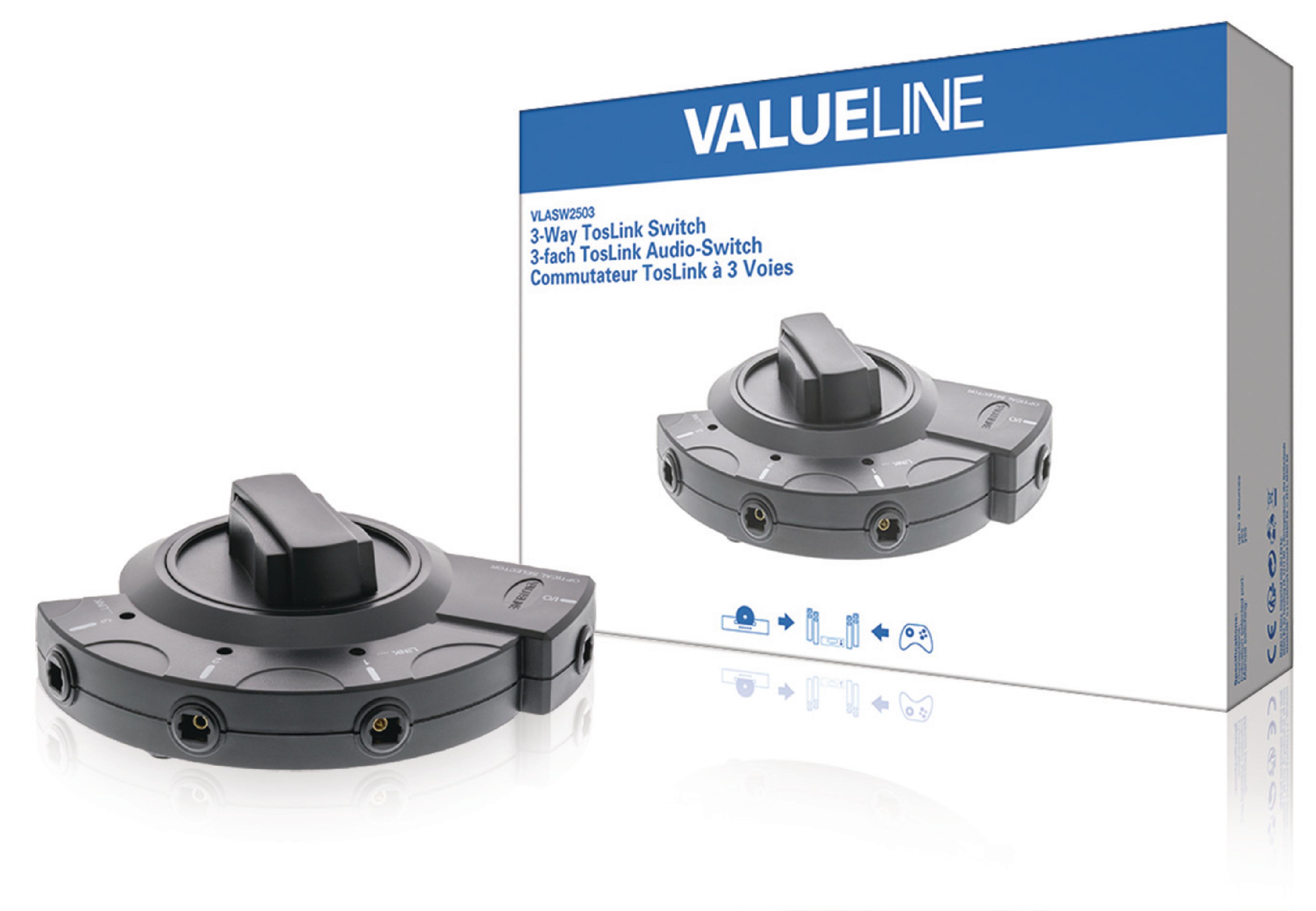 Vlasw2503 Valueline Digital Audio Switch 3x Toslink Female 2 Way Black