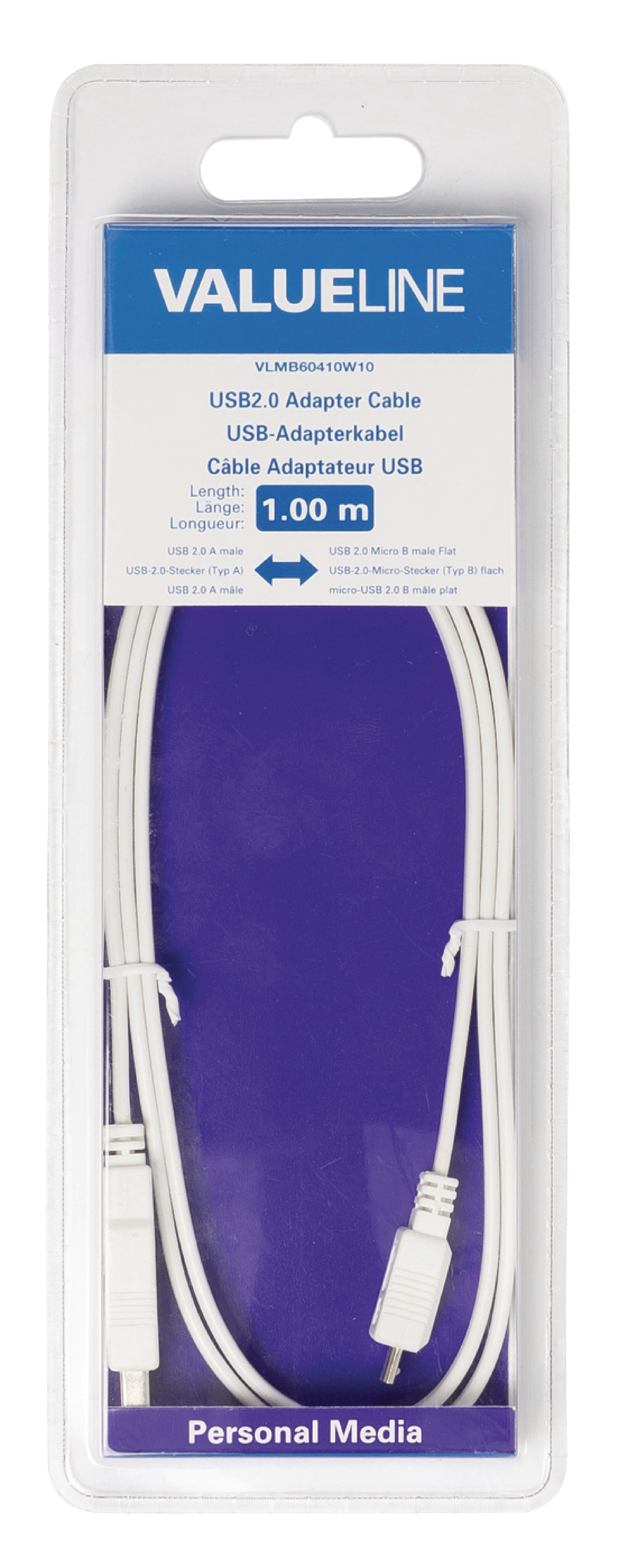Vlmb60410w10 Valueline Usb 20 Cable A Male Micro B Flat 2 0 Wiring 100 M