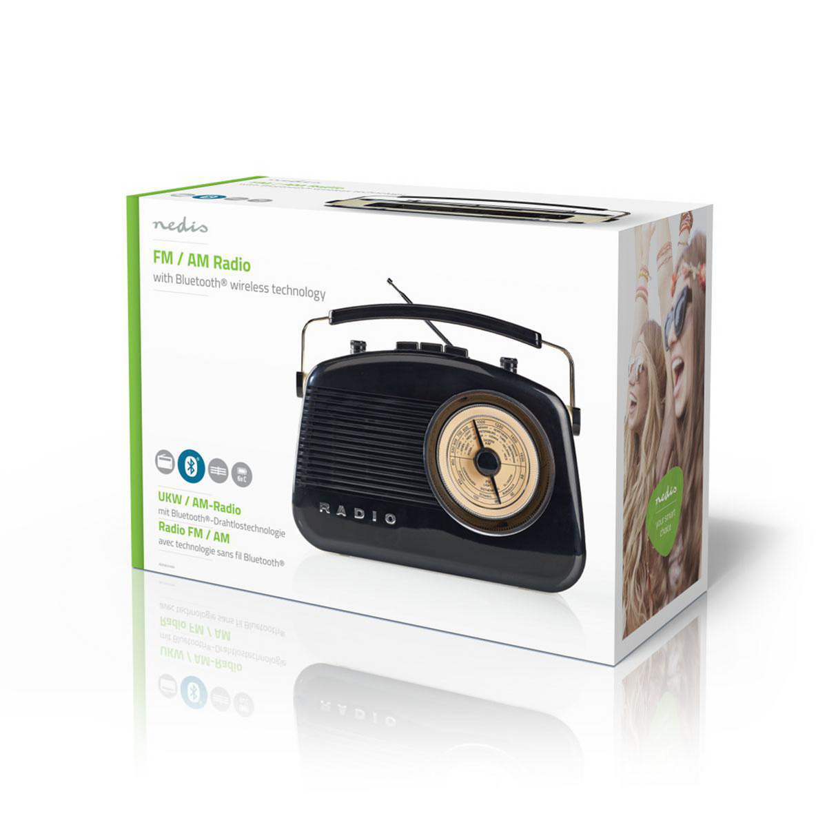 FM Radio   5 4 W   Bluetooth®   Carrying Handle   Black   Nedis
