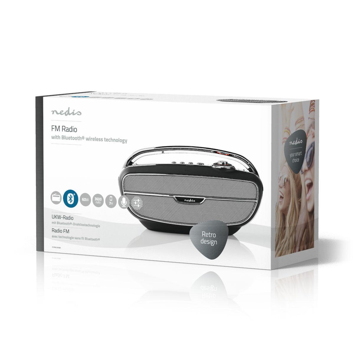 FM Radio   60 W   Bluetooth®   Black / Silver   Nedis