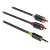 Sztereó Audio Kábel 3.5 mm-es Dugasz - 2x RCA Dugó 3.00 m Antracit