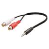 Sztereó Audio Kábel 3.5 mm-es Dugasz - 2x RCA Aljzat 0.20 m Fekete