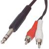 Sztereó Audio Kábel 6.35 mm-es Dugó - 2x RCA Dugó 2.00 m Fekete
