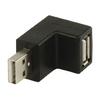 USB 2.0 Adapter Döntött 270 ° USB A Dugó - USB A Aljzat Fekete