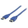 USB 3.0 Hosszabbító Kábel USB A Dugó - USB A Aljzat Kerek 3.00 m Kék