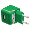 USB-lader USB A female - AC-huisaansluiting groen