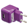 USB-lader USB A female - AC-huisaansluiting paars