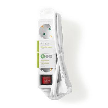 Contatto di Protezione 3 vie 1.5 m Bianco Nedis EXSO315F1WT Prolunga multipresa