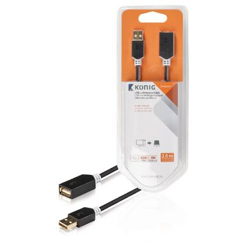 A Female Round 2.00 m Anthracite Konig USB 2.0 Extension Cable A Male KNC60010E20