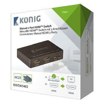 2-Port HDMI Switch Dark Grey   Konig
