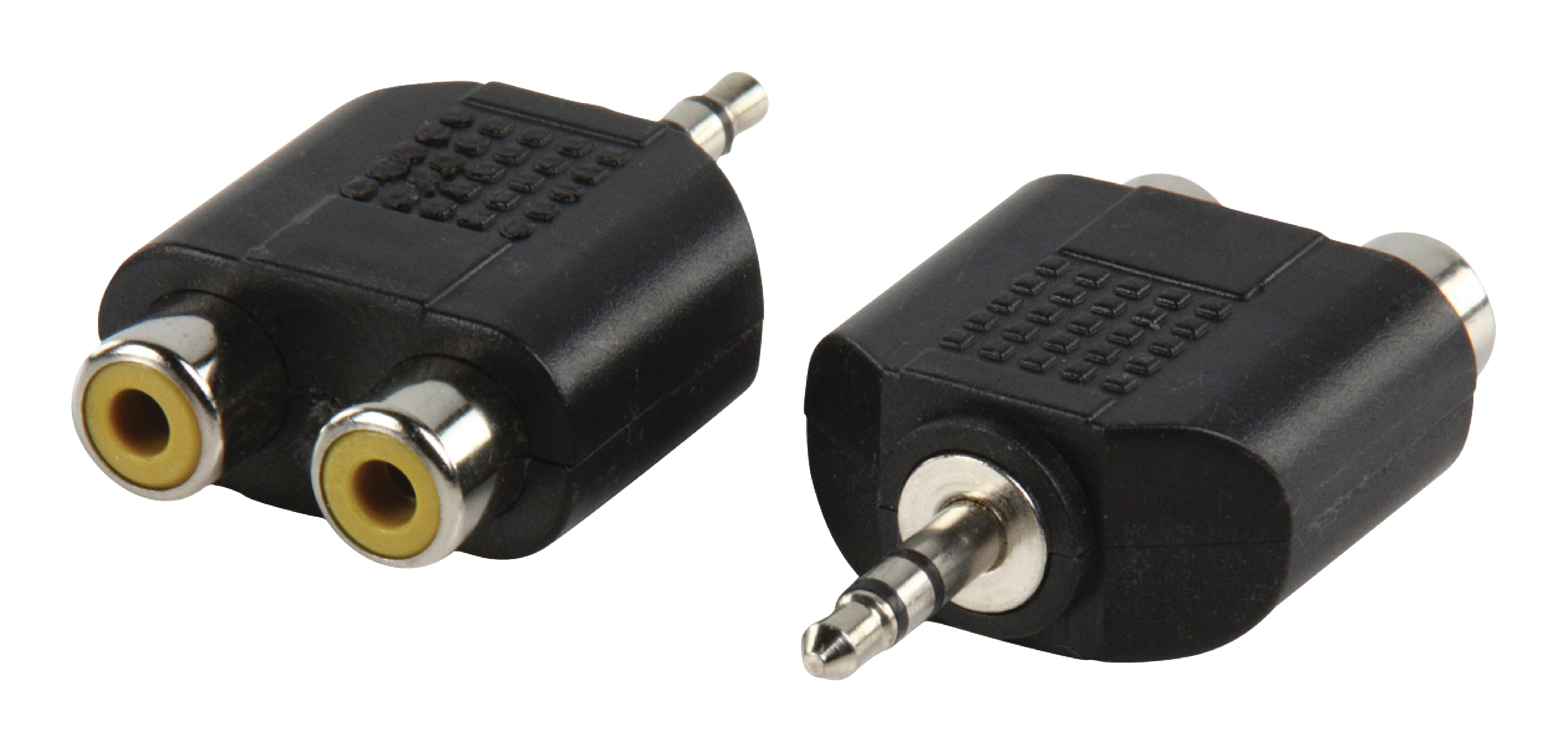 STEREO AUDIO ADAPTER 3.5 MM MALE - 2X RCA FEMALE BLACK