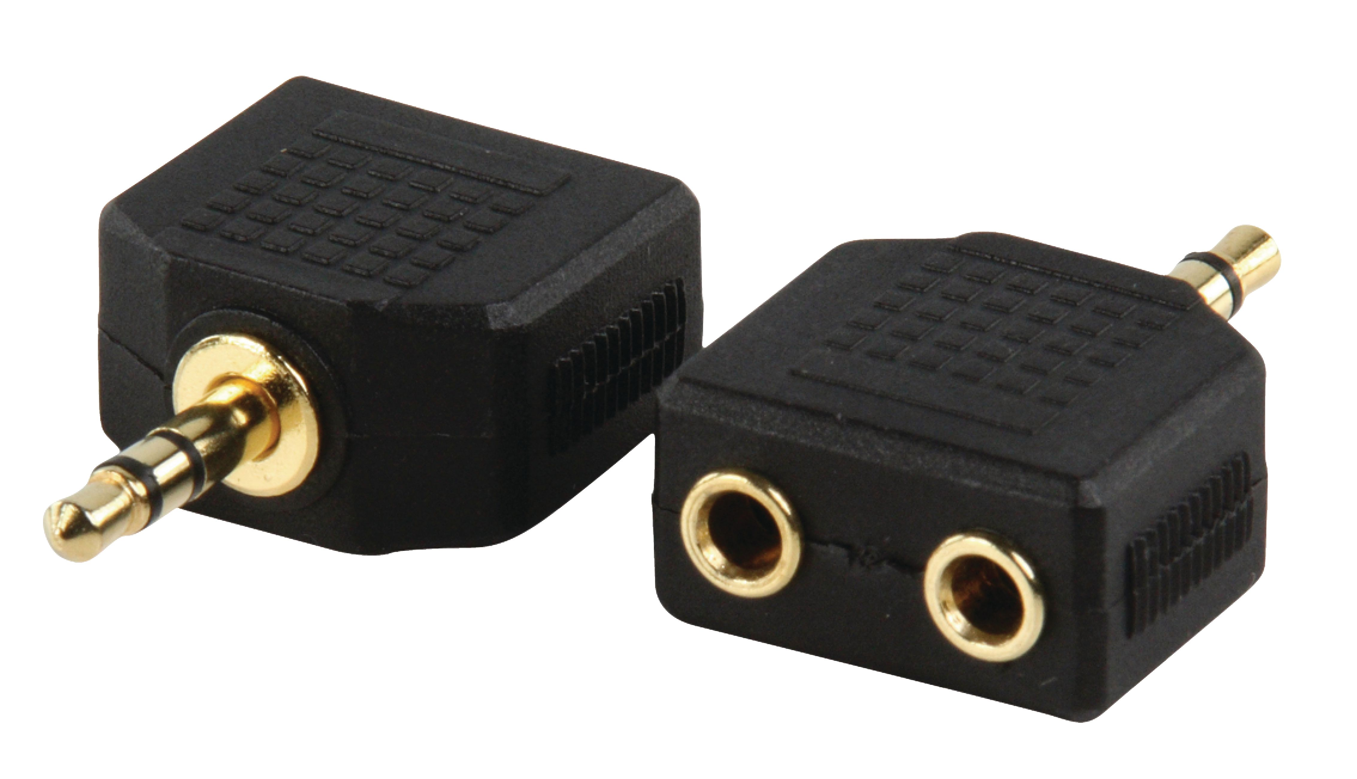 STEREO AUDIO ADAPTER 3.5 MM MALE - 2X 3.5 MM FEMALE BLACK