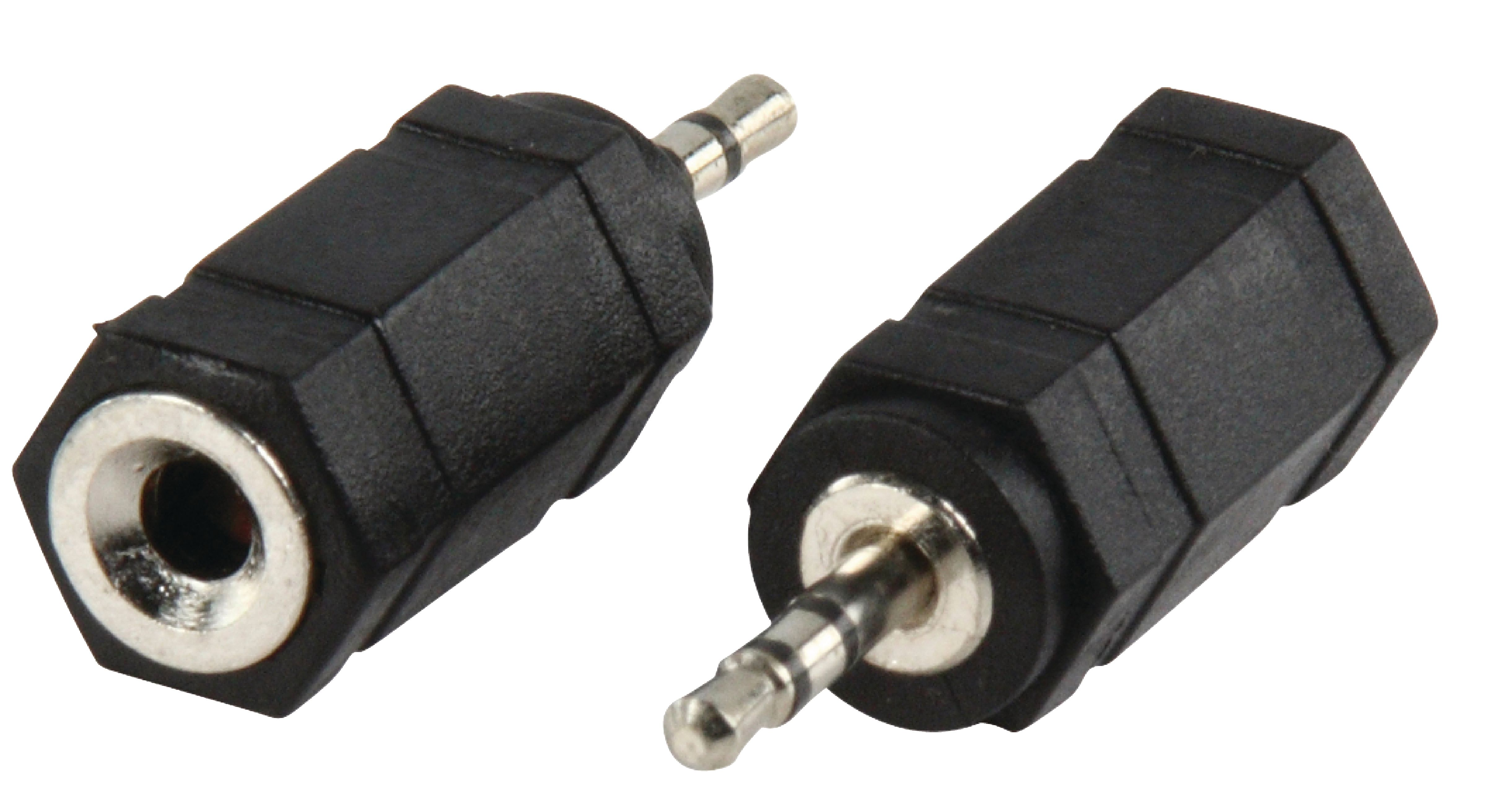 STEREO AUDIO ADAPTER 2.5 MM MALE - 3.5 MM FEMALE BLACK